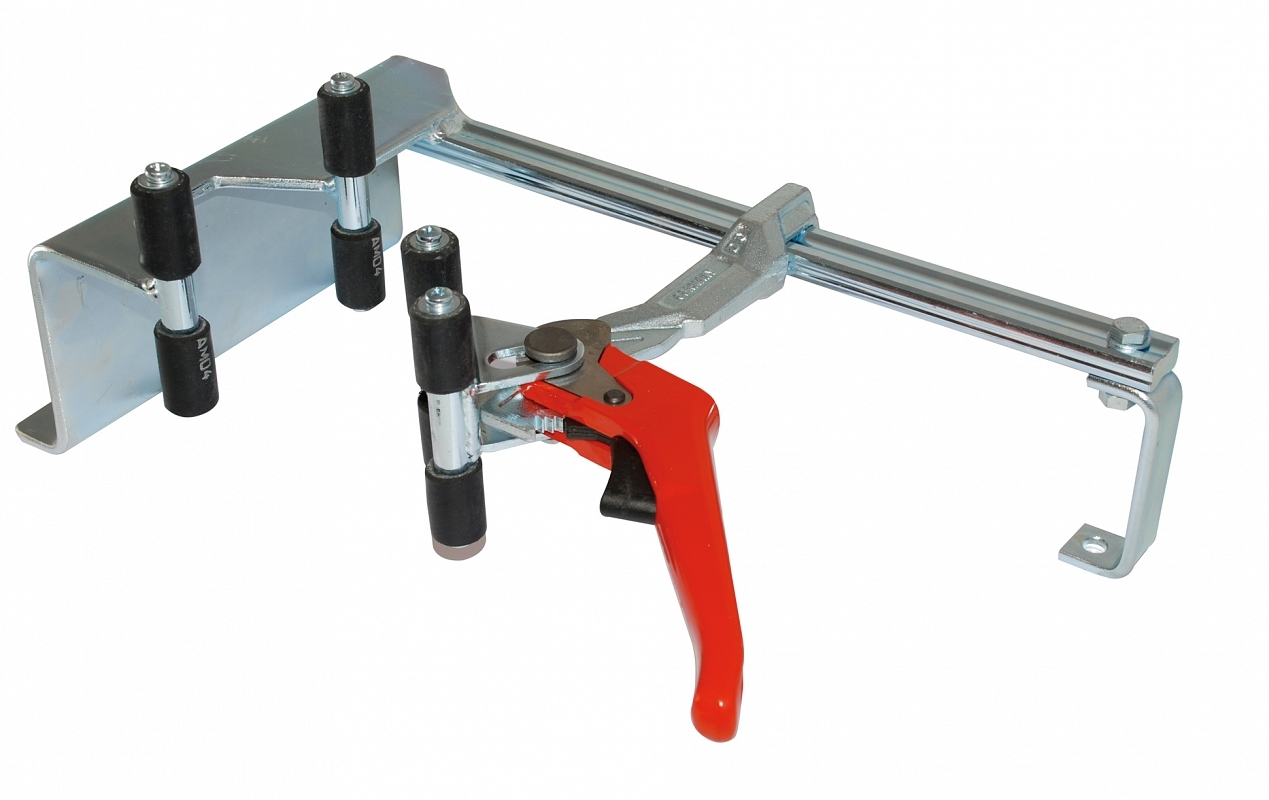 Mechanical Clamping Device For Fire Extinguisher Servicing