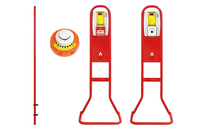 Fire extinguisher stands. Crédits : ©myfiresafetyproducts.com 2021