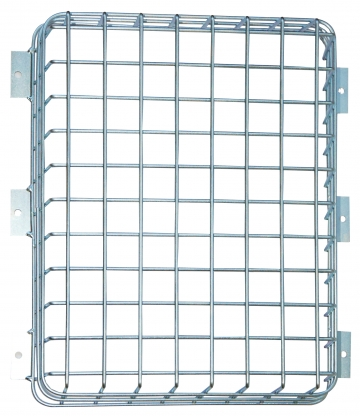 Protection cage for fire safety panel. Crédits :