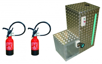 Training Extinguisher Kit : 88L Pump Tank + 2 Training Extinguishers. Crédits :