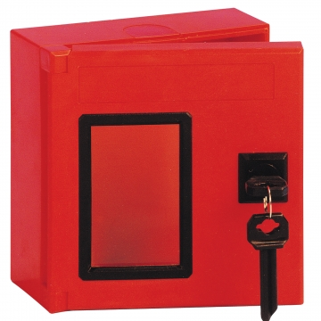 Red ABS emergency key box. Crédits :