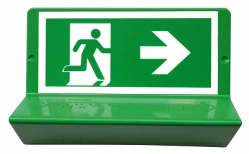 Braille evacuation sign - right arrow (to the right). Crédits :