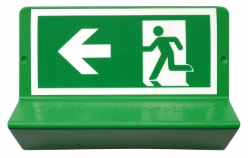 Braille evacuation sign - left arrow (to the left). Crédits :