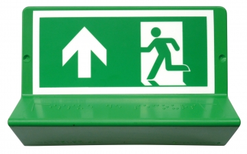 Braille evacuation sign - straight ahead. Crédits :