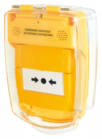 Yellow call point cover. Crédits : ©myfiresafetyproducts.com 2021
