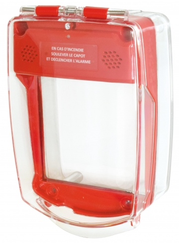 Red call point cover. Crédits : ©myfiresafetyproducts.com 2021