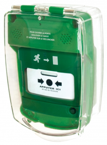 Green call point cover. Crédits : ©myfiresafetyproducts.com 2021