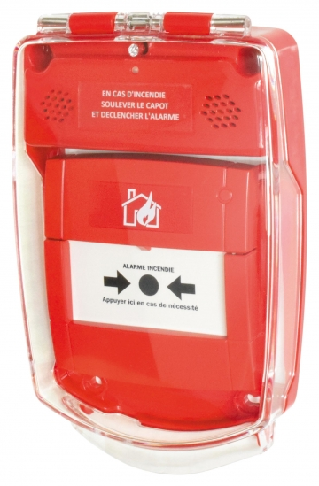 Red call point cover (flush-mounted). Crédits : ©myfiresafetyproducts.com 2021
