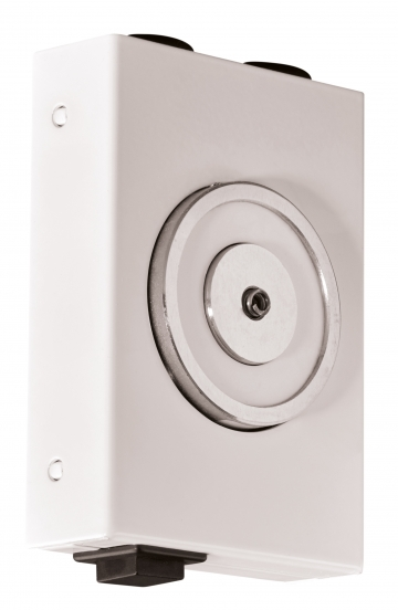 Compact electromagnetic door holder. Crédits : ©myfiresafetyproducts.com 2021
